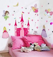 HUGE Fairy Princess Castle REMOVABLE Wall Stickers Girls Room Nursery Art Decor