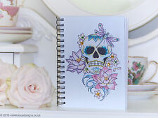 Lotus flower sugar skull tattoo day of the dead handmade A6 notebook