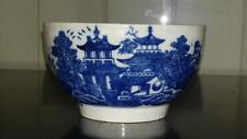 Rare 18th C Lowestoft Blue and White 'Dark Landscape Pattern' Bowl C 1770