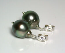 13x11mm AA+ peacock Tahitian saltwater pearl & sterling silver zircona earrings