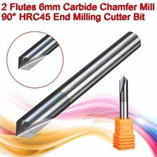 6mm Carbide Chamfer Mill 2 Flute 90 Degree HRC45 CNC End Milling Cutter Bit