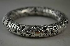 Old Decorated Handmade Miao Silver Carved Dragon Phoenix Noble Bracelet NR