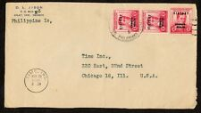 1946 Philippines Cover Silay Negros Island to Time Inc Chicago Victory Overprint