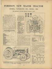 Fordson New Major Tractor 1952  Motor Trader Service Data No. 199 1952