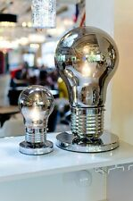 Sml Smoked Giant Light Bulb Table Lamp Silver Base Modern Funky Metal Wire Light