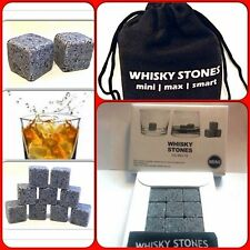 Whiskey Stones Whisky Sipping Stones 9 ICE Cubes Granite BOXED CHRISTMAS GIFT