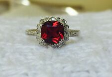 Stunning New Diamond & Ruby Ring Solid Sterling Silver 925 Halo Cluster