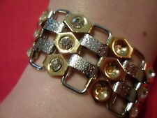 White Austrian Crystal Bracelet in 14K Yellow Gold Over Stainless & Stainless