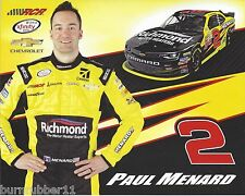 "2016 PAUL MENARD ""RICHMOND WATER HEATERS"" #2 NASCAR XFINITY SERIES POSTCARD"