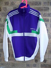 ADIDAS ORIGINALS archive series tracksuit top white green & purple 80S VTG STYLE