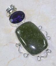 Magnifique Pendentif Argent avec Quartz Vert et Améthyste Violette