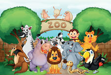 Framed Print - Children's Cartoon Zoo Animals (Picture Lion Zebra Elephant Hippo