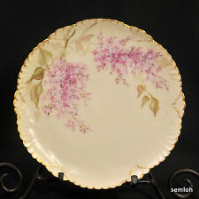 JPL Jean Pouyat LIMOGES PLATE Hand Painted PINK LILACS Artist G.H. 1890-1935