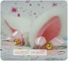 Lovely Long fur white cat ears with bell Anime cosplay hair clip kitty ears