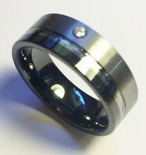 "Stunning Pure Tungsten Men's Dress Ring ""2 Tone Single CZ"" Size 9 (OYCTD0001)"