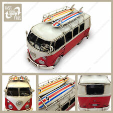 Red and White 1966 VW Camper Kombi van with Surfboards tin plate model