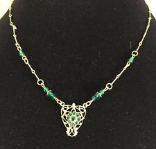 Green Crystal Gold-tone Pendant Necklace by Ankara Designs