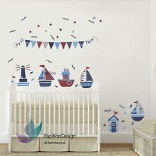 Sail Boat Stars Flag Nursery Baby Children Kids Removable Wall Decal Sticker