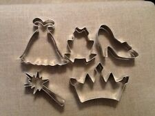 Princess Themed Cookie Cutters, Set of 5, Glass Slipper, Gown, Wand, Frog, Crown