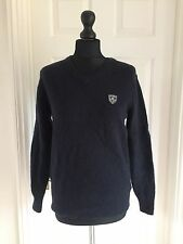 Superdry Men's navy blue nearly black lambswool blend jumper size S (label L)