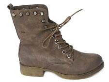LADIES WOMENS COMBAT DISTRESSED WORKER LACE UP FLAT BIKER ZIP ANKLE BOOTS SIZE