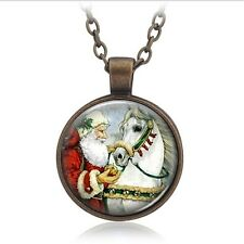 Christmas Necklace Santa Claus Art Picture Glass Cabochon Jewelry Kids Xmas Gift