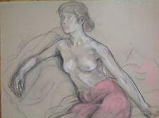 Odette LEPELTIER 1914-2006 Étude de nu féminin Cachet vente atelier Drouot