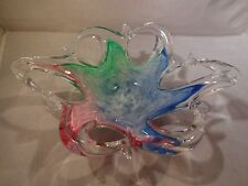 Murano Glass Free Form Bowl - Pink Green and Blue