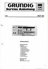 Service Manual-Instructions pour Grundig MCF 100