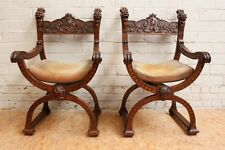 1112034 : Pair of Antique French Renaissance Dagobert Arm Chair Carved Faces