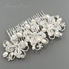 Bridal Hair Comb Pearl Crystal Headpiece Hair Clip Pin Wedding Accessories 09884