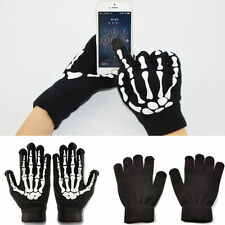 Black Touch Screen Skeleton Ghost Gloves Cellphone Tablet Warm Winter Mittens