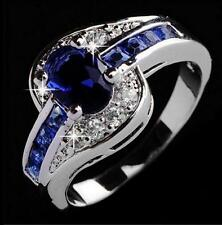 New Women Big Blue Rhinestone Elegant Engagement Ring Rings Jewelry Gift Size 7