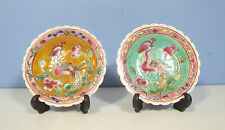 Jingdezhen famille rose peranakan porcelain plates pair with easels hand paint c