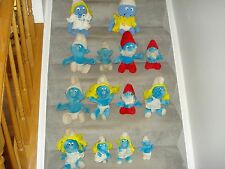 14 VINTAGE  PLUSH SMURF FIGURES FROM 1981, VARIOUS SIZES