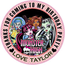 Personalised Monster High  Round  50mm Stickers Party Thank You Seals