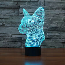 Cat's Xmas Gift Acrylic 3D LED Night Light Table Lamp USB 7-color Touch Switch