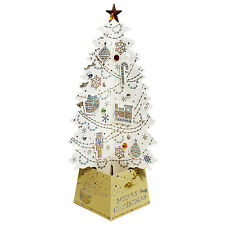 Pearl White Jewel Christmas Tree 3D Pop Up Greeting Card