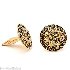 2017 Trendy Antique Round Yellow Gold Plated Alloy Men's Cuff links Jewelry Gift