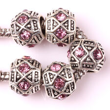 Fashion 5pcs Silver Czech big hole Beads Fit European Charm Bracelet DIY AB116