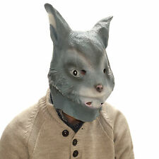 Latex Full Head Overhead Grey Rabbit Funny Animal Cosplay Halloween Fancy Mask