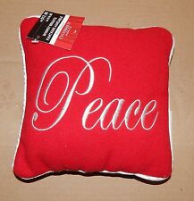 "Christmas Pillow Whimsy Brights Peace 8"" Square Red/Sliver Celebrate It 91A"