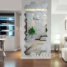 Modern 12pcs 3D Mirror Geometric Hexagon Home Acrylic Wall Sticker DIY Decor Art