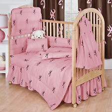 BROWNING BUCKMARK PINK & BROWN BABY CRIB BEDDING SHEET, COMFORTER, PILLOW CASE