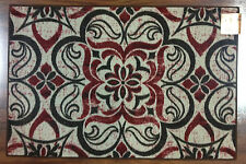 3X4 Kitchen Rug Mat Red Brown Ivory Flower Floral Modern Cute Washable Mats Rugs