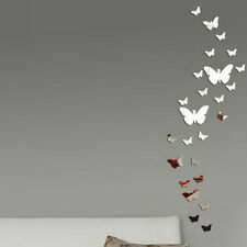 HOT 30pcs Butterfly DIY Art Silver Acrylic Mirror Wall Sticker Home Decoration