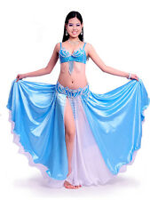 C8011 Belly Dance Costume Outfit Set Bra Top Belt Hip Scarf Skirt Bollywood 3PCS
