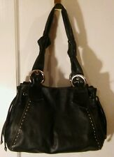 Francesco Biasia Black Kid-Soft Leather Shoulder Tote Satchel Purse Hand Bag