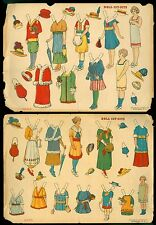 2 Uncut DeCalco Paper Doll Sheets - Sets No. 2 & 3 - 2 Dolls Each 1910s