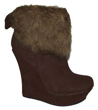 New Brown Faux Leather Suede Fur WEDGE PLATFORM WOMEN ANKLE BOOTIES Boots Sz 7